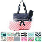 Quilted Diaper Bag + Changing Pad & Pouch 3pc Set Baby Girl Boy Shoulder Tote