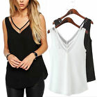New Women Summer Chiffon V Neck Sleeveless Tank Tops Casual Loose Blouse T-Shirt