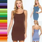 Cotton Long CAMI TANK TOP Mini DRESS Spaghetti Strap Soft Layering Tunic Bodycon