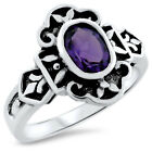 GENUINE AMETHYST 925 STERLING SILVER ANTIQUE STYLE RING,                    #871