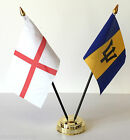England & Barbados Double Friendship Table Flag Set choice of base
