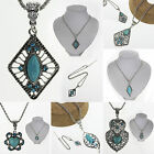CHIC Fashion Jewelry Turquoise Crystal Pendant Necklace Chain Vintage Women