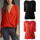 New Womens Jumpers Pullover Blouse Tops V-Neck Long Sleeve Hoodie Zipper T-shirt