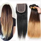 3 Bundle 150g Brazilian Straight Human Hair ombre Weft&1pc Straight Lace Closure