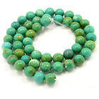 "Gorgeous xinjiang green turquoise round loose beads 15.5""  No.jj0010"