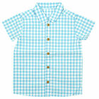 Boys Gingham Check Short Sleeve Summer Fashion Shirt Blue 2 to 5 Years