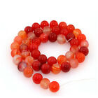 "Natural Watermelon-red Agate Round Loose Gemstone Beads 15.5"" No.jj0019"