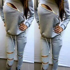 New Women Ladies Girl Zipper Hollow Out Tracksuit Sport suit O-Neck Long Sleeve