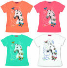 Girls Pretty White Horse & Neon Butterfly Print Fashion T-Shirt Top 3 - 12 Years
