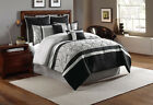 12 Piece Blakely Black/Gray Bed in a Bag w/600TC Cotton Sheet Set
