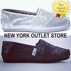 AUTHENTIC Toms Classic Slip-On GLITTER Women's Shoes Black-Silver-White 5.5-9.5