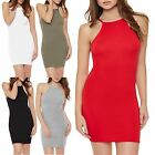 Womens Ladies Thin Strap Casual High Neck Bodycons Jersey Strappy Cami Dress
