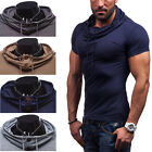 Stylish Men Slim Fit Short Sleeve Muscle Hoodie Cool T-shirts Tops Casual Shirts