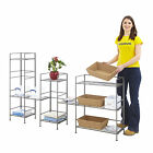 Folding Steel Shelving Racks & Towers Pewter Grey 3 Or 4 Level Shelf Storage