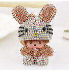 Monchhichi rabbit hat keychain fashion doll car hangbag pendant keyring keyfob