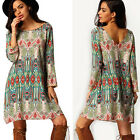 Vintage Fashion Womens Long Sleeve Dress Long T shirt Casual Loose Mini Dress
