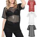 Womens Short Sleeve T Shirt Ladies Round Neck Lace Crochet Baggy Oversized Top