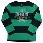 Timberland Long Sleeve Tee Boys Kids Green Striped T-Shirt Top T0161 748 U3B