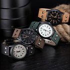 Men's Leather Band Watches Gift Analog Quartz Date Military Wrist Watch Fashion image