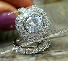 14k White Gold Sterling Silver Round cut Halo Simulated Diamond Wedding Ring Set