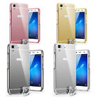 For Huawei Honor Y6 Ultra Thin Mirror Back Cover With Metal Aluminum Frame Case