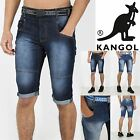 Kangol New Mens Poly Cotton Casual Jog Belt Jeans Knee Length 3/4 Shorts Trouser