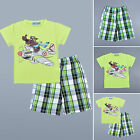 Boys Suits Short Sleeve T-Shirt Tee Baby Grid Pant Kids Shorts Top Bottom Outfit