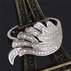 925 Silver Plated Ring Finger Band Wing Cubic Zirconia Women Hot Sz 6 7 8 9 10 j