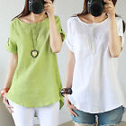 CHIC Women Casual Cotton Linen Short Sleeve Round Neck T Shirt Loose Blouse Tops