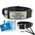 Top Grain Leather Nato Medical ID Bracelet (Incl. 6 lines of custom engraving)