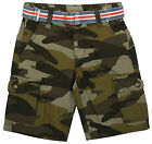 Boys Army Camo Combat Cargo Pocket Camouflage Shorts & Belt 3 to 14 Years