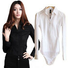 Pleated Bodysuit Blouse Classic Shirt Top WHT/BLK - S -XXXL