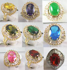 charm 10*14mm green red pink yellow purple blue jade zirconia 18 KGP ring