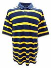 Louie James Cotton Rich Pique Polo Shirt in Navy/Yellow in Size M to XXL