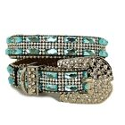 Western Gorgeous Blue Gemmed and Clear Rhinestone Buckle Dog Collars 3 Sizes