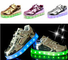 Fashion Unisex LED Light Luminous Kid Strap Lace Up Sneaker Sports Casual Shoes