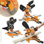 "210mm 8"" 230V Multipurpose Sliding Mitre Saw with Laser Guide Garage Power Tool"