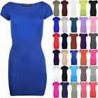 Womens Ladies Short Cap Sleeve Plain Mini Top Stretch Bodycon Party Dress 8-22