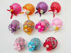 Assorted small cap Pet Dog Cat Hair bows Clips w/Rubber Bands Hair Accessories