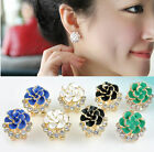 Fashion Women Lady Crystal Rhinestone Flower Rose Ear Stud Earrings Jewelry