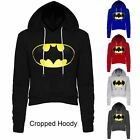 Womens Ladies Batman Fleece Long Sleeve Crop Cropped Hooded Hoody Sweatshirt Top