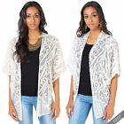 Womens Boho Embroidered Lace Kimono Jacket Hippie Cape Coat Summer Cover Up Top