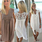 CHIC Sexy Women Summer Casual Sleeveless Loose Ladies Beach Mini Dress Sundress