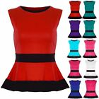 Womens Ladies Contrast Waist Panel Peplum Frill Skater Mini Dress Top Plus Size