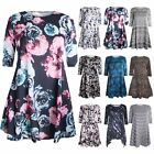 Womens 3/4 Sleeves Ladies Floral Stretchy Printed Flared Tunic Smock Swing Dress
