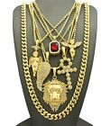 """Hip Hop Red Stone, Baby Angel, Wing, Ankh, Lion, 30"""" Cuban Chain 7 Necklace Set"""