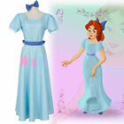Peter Pan Wendy Darling Blue Cosplay Costume Dress With Headwear Plus Size
