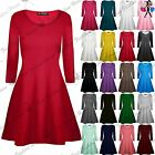 Womens Ladies Casual Plain Round Neck Long Sleeves Flare Jersey Swing Dress Top
