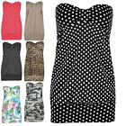 Womens Floral Summer Top Ladies Front Knot Strapless Casual Bandeau Boobtube Top