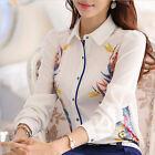 Fashion Women Long Sleeve Floral Tops OL Business Ladies T Shirt Casual Blouse